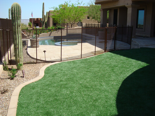 Pool safety fences desert bronze mesh with brown poles