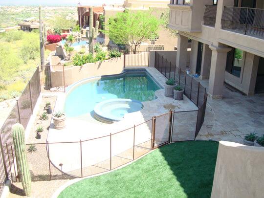 Desert Bronze Mesh With Brown Poles Pool Fencing Pool