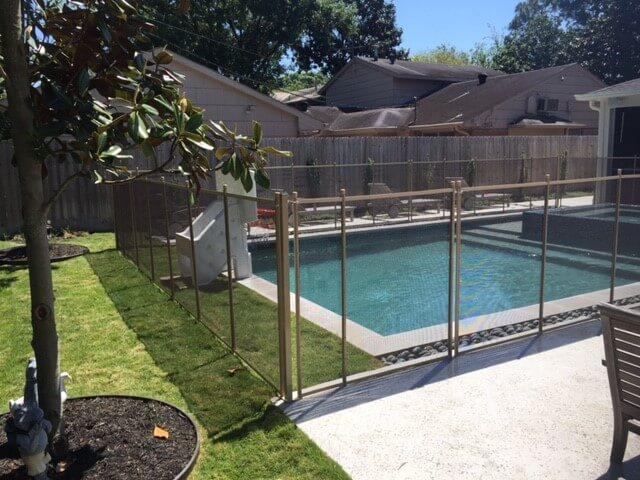 Pool safety fences desert bronze mesh with tan poles