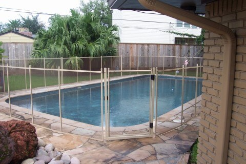 Desert Bronze Mesh With Tan Poles Pool Fencing Pool